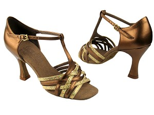 "S92304 Gold Scale & Dark Tan Gold with 3"" Flare heel in the photo"