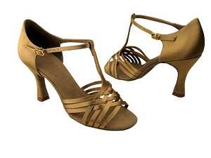 "S92304 Tan Satin with 3"" Flare heel in the photo"