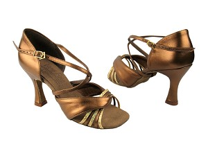 "S92305 Gold Scale & Dark Tan Gold with 3"" Flare heel in the photo"