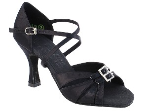 "S92307 Black Satin with 3"" Heel in the photo"