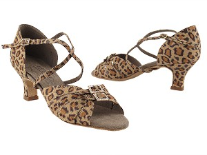 "S92307 Leopard Satin 2_inch  with 2"" Cuban Heel in the photo"