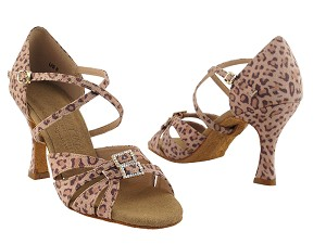 "S92307 Leopard Satin with 3"" Flare heel in the photo"
