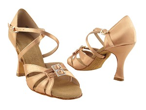 "S92307 Tan Satin with 3"" Flare heel in the photo"