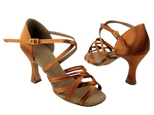 "S92313 Dark Tan Satin with 3"" Flare heel in the photo"