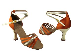 "S92327 Gold Trim & Dark Tan Satin with 3"" Flare heel in the photo"