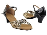 S9283 Black & Gold Braid & Cuban Heel