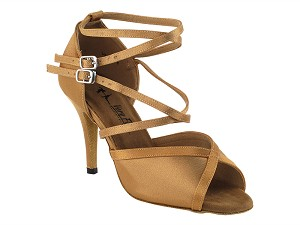 "2630LEDSS Brown Satin with 3.5"" Stiletto Heel in the photo"
