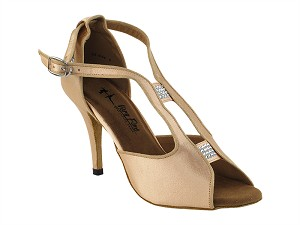 "2825LEDSS Light Brown Satin with 3.5"" Stiletto Heel in the photo"