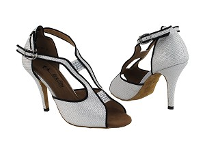 "2825LEDSS White Gliter Satin with 3.5"" Stiletto Heel in the photo"
