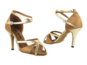 "2829LEDSS Brown Satin_Gold Trim with 3.5"" Stiletto Heel in the photo"