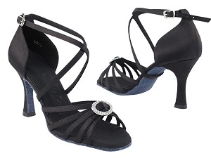 "SERA1123 Black Satin with 3"" heel in the photo"