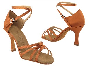 "SERA1606 Dark Tan Satin with 3"" heel in the photo"