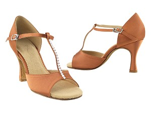 "SERA1609 Dark Tan Satin with 3"" heel in the photo"
