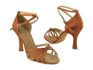 "SERA6005 Dark Tan Satin with 3"" heel in the photo"