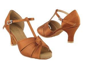 "SERA6006 Dark Tan Satin with 3"" heel in the photo"