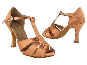 "SERA7037 Tan Satin with 3"" Heel in the photo"