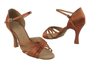 "SERA6030 Dark Tan Satin with 3"" heel in the photo"