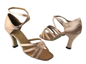 "1606 135 Light Brown Satin with 3"" Heel in the photo"