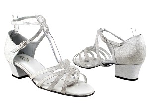 "1606 259 Silver Satin with 1.5"" Medium Heel in the photo"