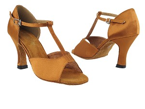 "1609 236 Dark Tan Satin with 3"" Heel in the photo"