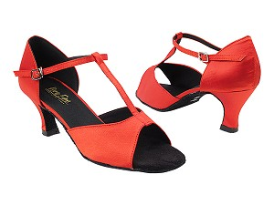 "1609 Red Satin with 2.5"" Heel in the photo"