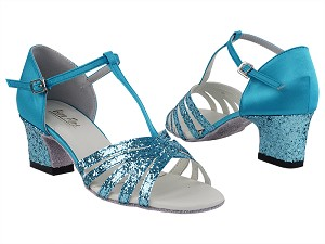 "1612 188 Light Blue Sparkle_F_H_230 Light Blue Satin_B_T with 2"" Thick Cuban Heel in the photo"