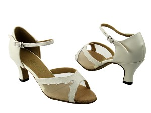 "1616 15 Creamy White Leather & Flesh Mesh with 2.5"" Low Heel in the photo"