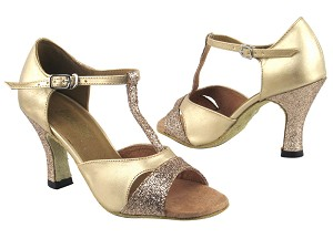 "1617 125 Gold Stardust_H_57 Light Gold Leather_1616 BackStrap with 3"" Heel in the photo"