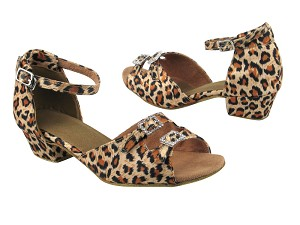 "1620 #152 Leopard Satin with 1.5"" Medium Heel in the photo"