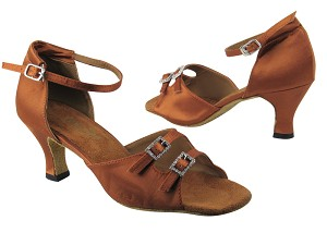 "1620 236 Dark Tan Satin_Stone with 2.5"" low heel in the photo"