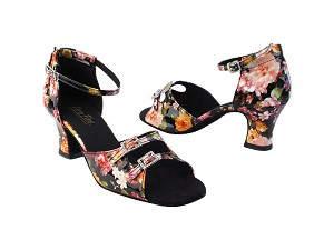 "1620 288 Flower PU_Stone_2 with 2.2"" Thick Cuban Heel in the photo"