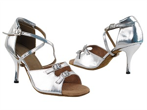 1625 55 Silver PU_3in Slim Silver Plated Heel