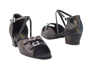 "1625 85 Black Snake_Stone with 1.5"" medium heel in the photo"