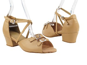 "1625 Beige Brown Leather with 1.5"" Medium Heel in the photo"