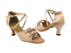"1625 Light Brown Satin_Stone_Same as 1620F_1636B with 2.5"" Heel in the photo"