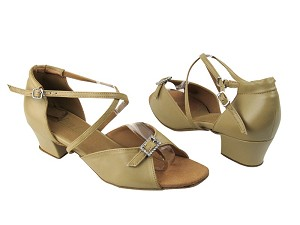 "1636 Tan Leather_Stone with 1.5"" Medium heel in the photo"