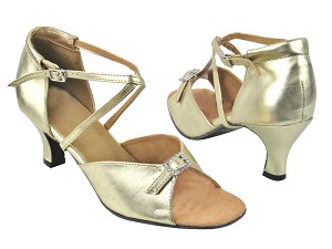 "1636 209 Flesh Gold Leather with 2.5"" low heel in the photo"