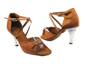 "1636 236 Dark Tan Satin with 3"" Square Transparent Heel in the photo"