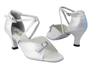 "1636 259 Silver Satin with 2.5"" Low Heel in the photo"