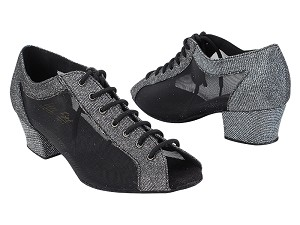 "1643 105 Glitter Black Satin_Black Mesh with 1.5"" Heel (2001) in the photo"