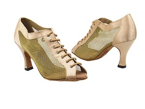 "1643 135 Light Brown Satin_94 Gold Mesh with 3"" Heel in the photo"