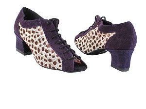 "1643 281 purple suede_167 mesh with 2"" Thick Cuban Heel in the photo"