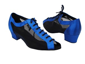 "1643 247 Blue Satin_Black Mesh 1_5 with 1.5"" Medium Heel in the photo"