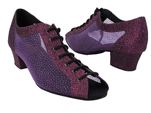 1643 274 Purple Glitter_305 Purple Mesh with 2001_1.5 inch Heel in the photo