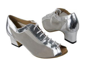 "1643 Silver Leather_Silver Mesh with 2"" Thick Cuban heel in the photo"
