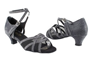 "1657 105 Glitter Black Satin_Black Mesh with 1.3"" Heel in the photo"