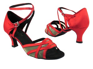 "1657 112 Red Satin_Flesh Mesh with 2.5"" low heel in the photo"
