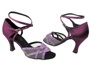"1657 190 Purple Scale & 111 Purple Satin & Flesh Mesh with 3"" Heel in the photo"
