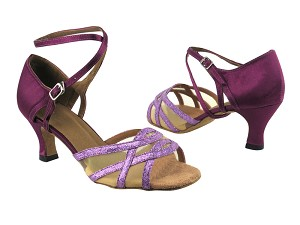 "1657 190 Purple Scale_ 111 Purple Satin_Flesh Mesh_Brown Sole with 2.5"" low heel in the photo"