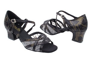 "1657 85 Black Snake_153 Mesh with 2"" Thick Cuban Heel in the photo"